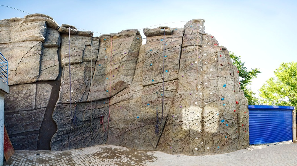 Скалодром, Панорама развернутой поверхности стенки